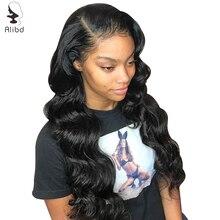 Alibd волнистые волосы 13X6 фронтальные парики шнурка человеческих волос предварительно сорвал малазийские волосы парик шнурка с волосами младенца remy фронтальные парики волос