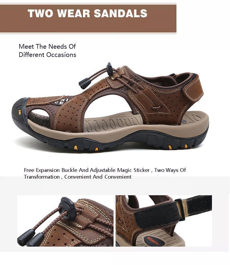 5474490ed Summer Man Beach Shoes Genuine Leather Head Layer Cowhide Toe Non ...
