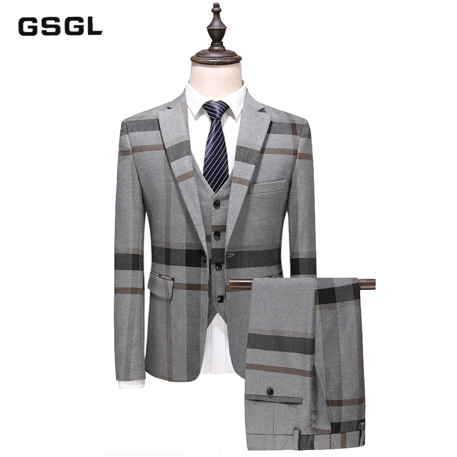 New Arrival High Quality Plaid Single Breasted Blue Gray Casual Suits Men,men's Wedding Dress, Plus-size S-5XL