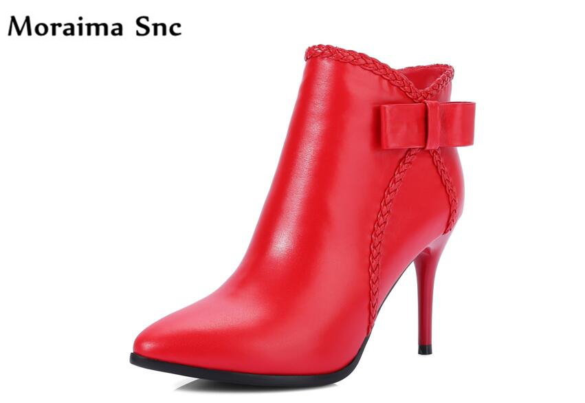Moraima Snc Ankle boots Butterfly-knot side zipper thin high heel pointed toe up leather platform fashion women boots moraima snc chic women winter platform pointed toe mid calf boots solid black lace up fringe vintage suede high heel