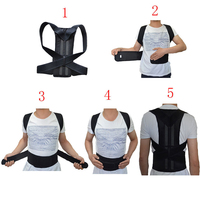 Unisex Adjustable Back Posture Corrector Brace Back Shoulder Support Belt Posture Correction Belt for Men Women Black S XXL