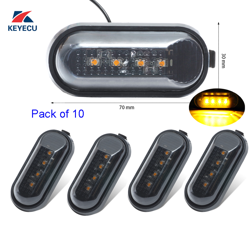 KEYECU 10Pieces for 2000 2009 Honda Accord Civic S2000 4Led Flat Side Marker Lights Lamp Replacement
