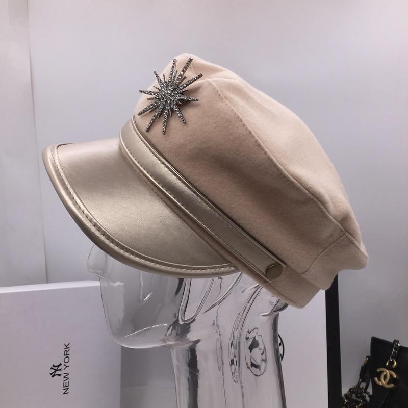 Fashion temperament cap woolMs splicing leather navy hat brim khaki leisure  newsboy cap Diamond decoration Visors a745eb237ba