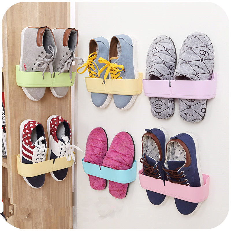 1pc Paste The Wall Shoe Organizer Rack Living Room Bathroom Storage Rack Shelving Sucker Shoe Holder