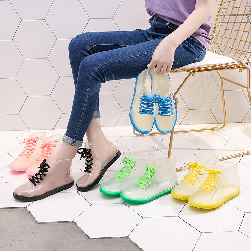 Closeout DealsAleafalling Boots Woman Shoes Platform Lace-Up Ankle-Rain-Boots Motorcycle Waterproof