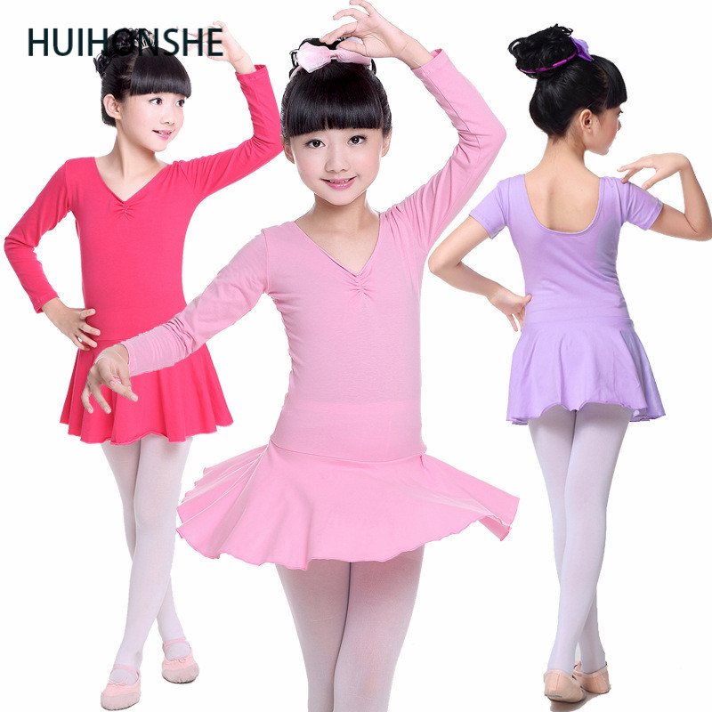 HUIHONSHE Children dance Girl Long Sleeve Dress  Suspender Girl Ballet Dress Fitness Clothing Performance Wear Leotard Costume