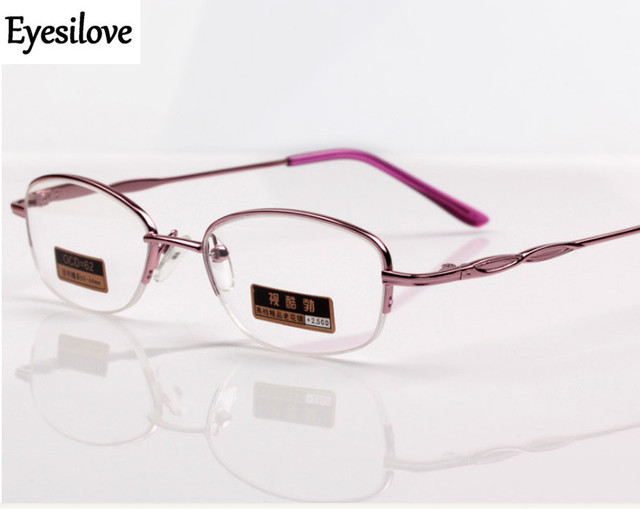 f786e8d39b90 Eyesilove fashion women metal reading glasses lady half-rim reading  eyeglasses ultra-light eyewear pink +100 to +400