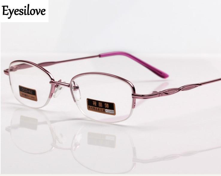 Eyesilove mulheres da moda óculos de leitura do metal lady half-aro óculos  de leitura ultra-leve óculos cor de rosa + 100 a + 400 - a.samuelk.me a8cae3e176