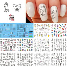 12pcs Black Line Sexy Girl Nail Decals Writing Letter Tattoos Sliders Nail Art Water Transfer Stickers Manicure TRBN1237-1248-1(China)