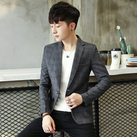 2018 mens casual balzers and jacket business plaid jackets single button navy grey M 3XL drop shipping slim fit male coat CD50