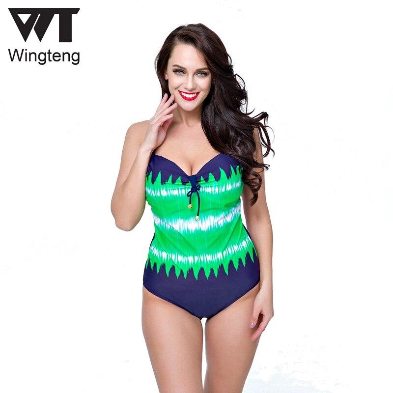 8073f5648481d Wingteng один кусок купальники женщин плюс Размер 8XL пуш-ап монокини  бикини купальный костюм купальник