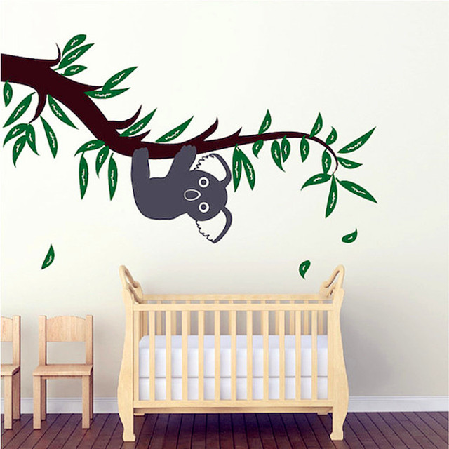 2016 New Cute Koala Holding Branches Wall Sticker Baby Bedroom Wall ...