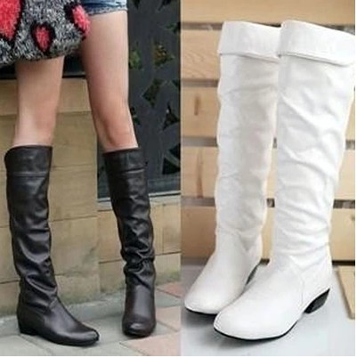 2015 autumn and winter knee high long boots thermal snow warm low-heeled pointed toe plus size