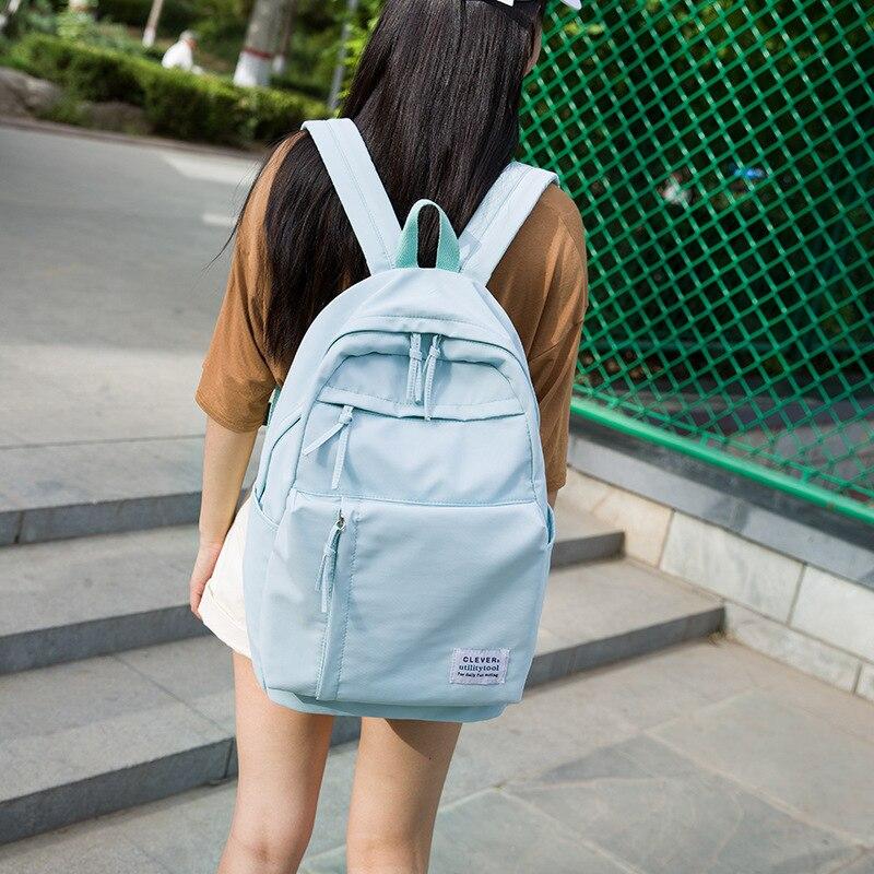 Large Girls School Bags for Teenagers Backpacks Nylon Waterproof Teen Student Book Bag Big College Leisure Schoobag Blue 2019