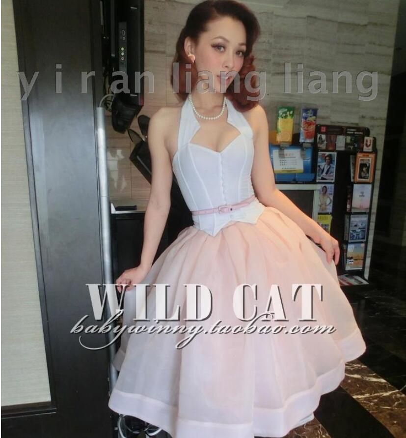Элегантный и сладкий ноутбук розовый сетки юбка пачка Модные сладкий темперамент ретро Праздничная юбка - 3