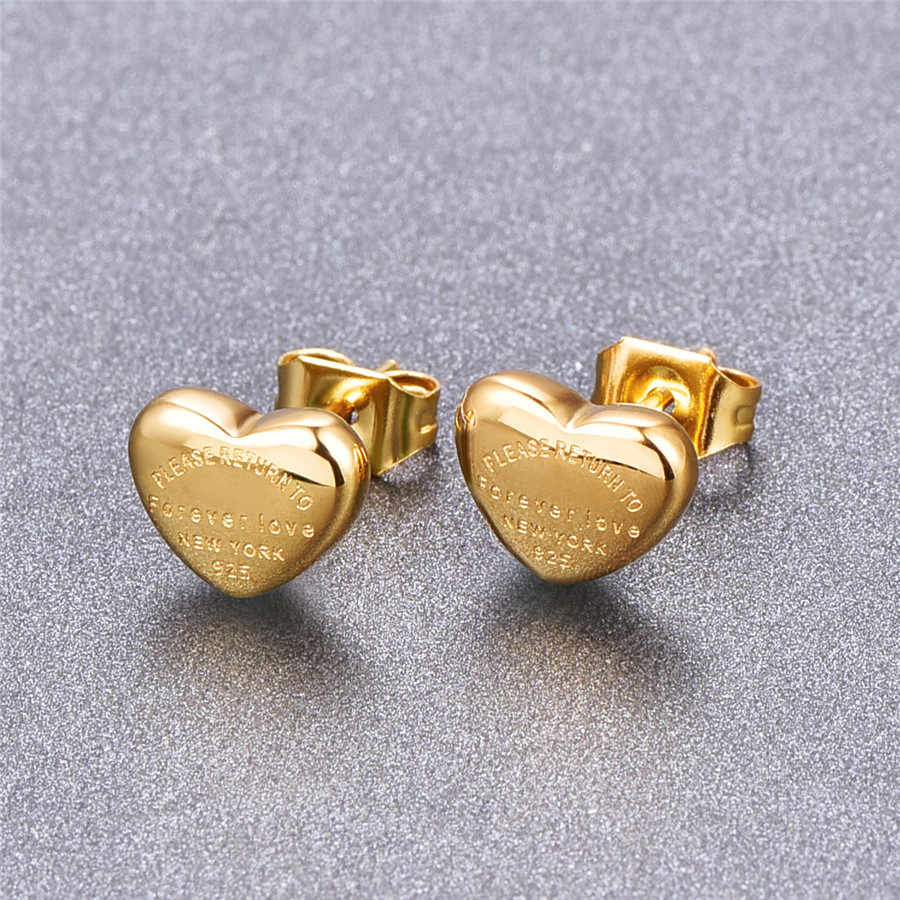 Martick Lovely Heart Stud Earrings Heart Shape Fashion Stud Earrings Brincos For Girl Present Never Fade E198