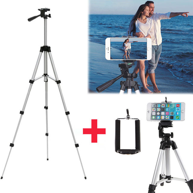 Professional Aluminum Camera Tripod Stand Holder + Phone Holder +Nylon Carry Bag for iPhone Samsung Smartphone four floor high