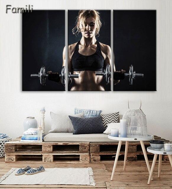 3 pcs Mur Art Affiche Musculation Exercice de Remise En Forme Sport ...