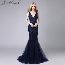 Robe De Soiree 2018 Nya Ankomster Lyxiga Eleganta Långa Mermaid Aftonklänningar Crystal Party Gowns Formella Verkliga Foton LSX424