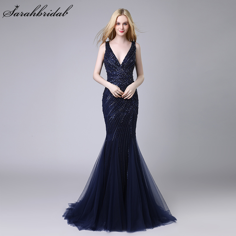 Robe De Soiree New Arrivals Luxury Elegant Long Mermaid   Evening     Dresses   Crystal Party Gowns Formal Real Photos LSX424