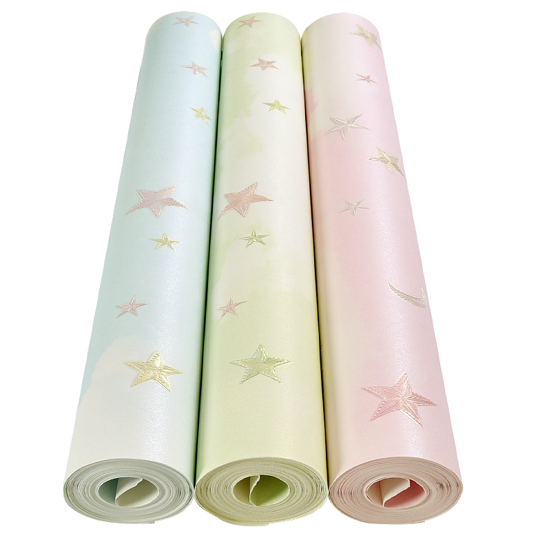 Warm And Romantic Children's Room Cartoon Wallpaper Boys And Girls Non-woven Bedroom Wallpaper Sky Stars On The Wall Wallpaper non woven luminous wallpaper roll stars and the moon boys and girls children s room bedroom ceiling fluorescent home wallpaper