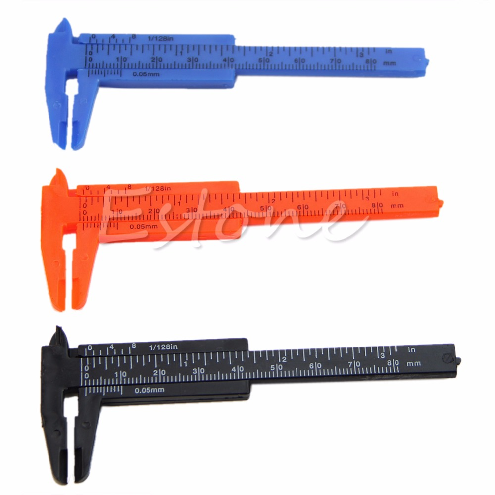 1Pc Mini Plastic Ruler Sliding Gauge 80mm New For Quick Inside, Outside, Step And Depth Measurements