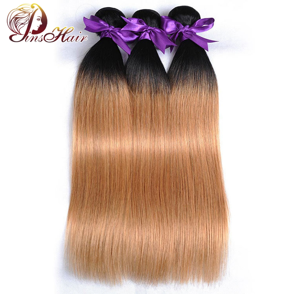 1B 27 Honey Blonde Bundles Ombre Indian Straight Human Hair Weave 10-26 Inches 3 Pcs Pin ...