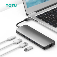 USB HUB to 4K HDMI PD VGA Type C Hub 9 in 1 to USB 3.0 SD/TF Card Reader 9 ports in Type c Cables for HDTV monitor projector