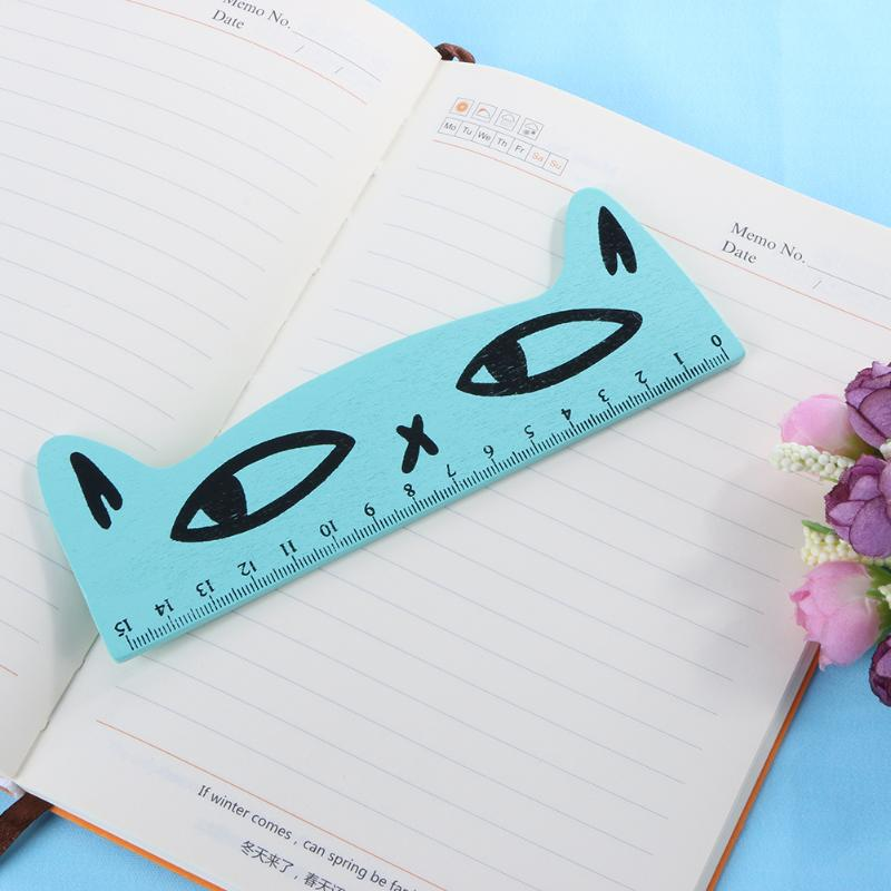 ALLOYSEED 15cm Kawaii Cartoon Cat Wooden Straight Ruler Painting Drawing Measuring Tools School Stationery Office Supplies