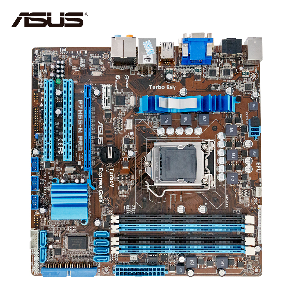 Asus P7H55-M PRO Desktop Motherboard H55 Socket LGA 1156 i3 i5 i7 DDR3 16G HDMI DVI VGA On Sale asus p8h67 m lx desktop motherboard h67 socket lga 1155 i3 i5 i7 ddr3 16g uatx on sale