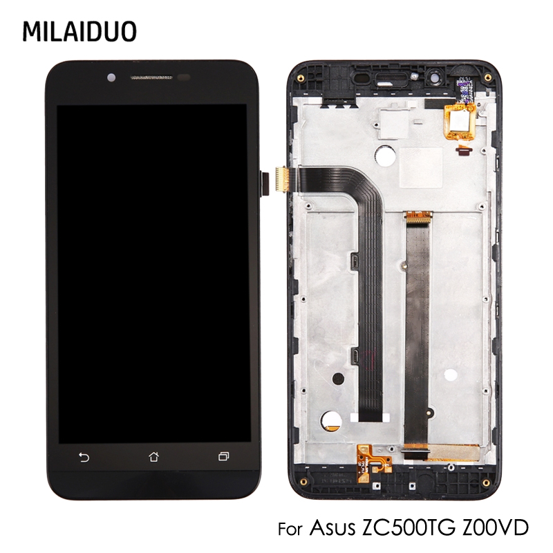 Original LCD Display For Asus Zenfone Go ZC500TG Z00VD Touch Screen Digitizer Sensor Glass Panel Monitor Assembly With Frame