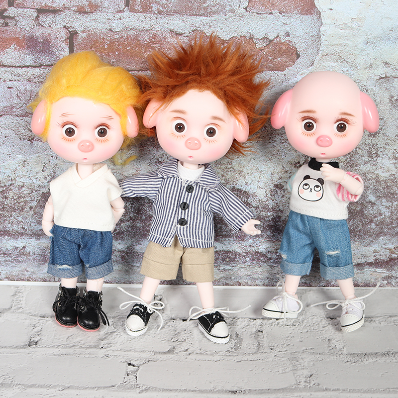 1/12 BJD Blyth Doll 26 Joint Body Cute Pig Ob11 Doll With Clothes Shoes Children Gift 15cm Mini Doll Name By DODO