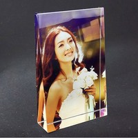 Color Printed Crystal Photo Frame Customized Rectangle Glass Picture Frames Wedding Valentine's Day Souvenir Collectible Gift