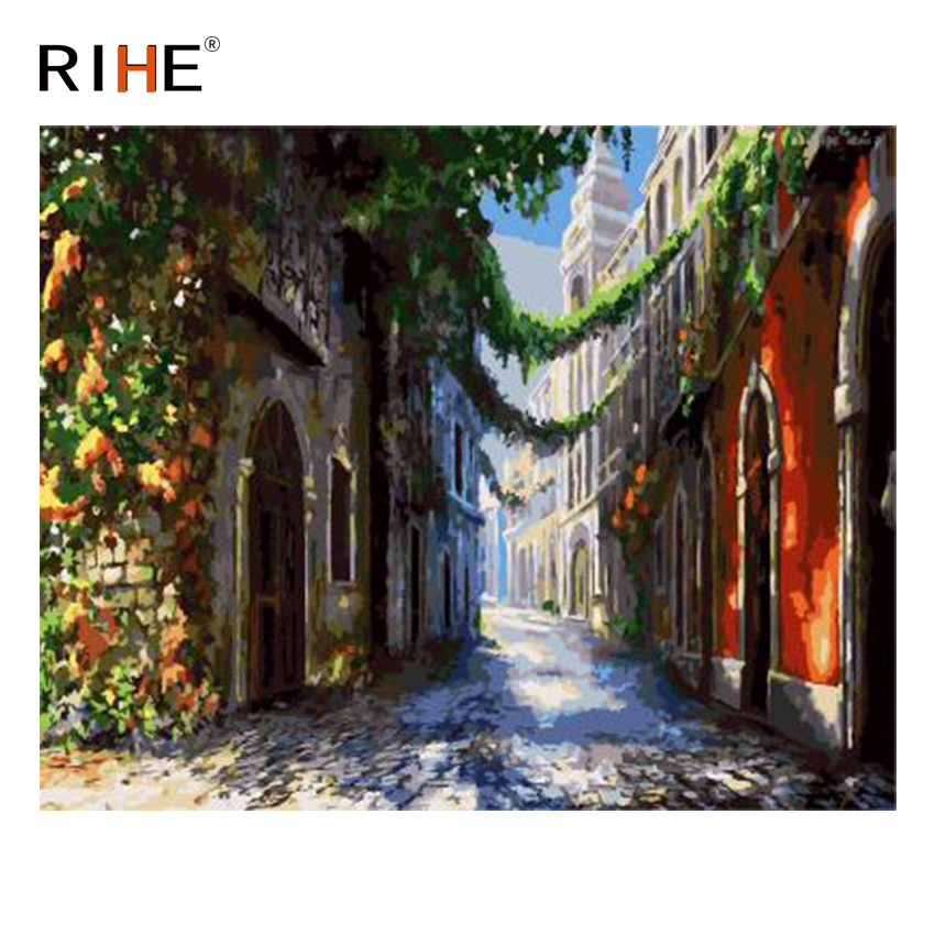 RIHE City Street Diy Painting By Numbers Quiet Road Oil Painting On Canvas Cuadros Decoracion Acrylic Wall Picture For Room 2018