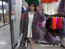 2015woman  Ostrich natural fur 90 cm long dress with long sleeves