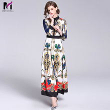Merchall High Quality Designer Runway Dress Long Sleeve Turn Down Collar Women Vintage Floral Print Party Maxi