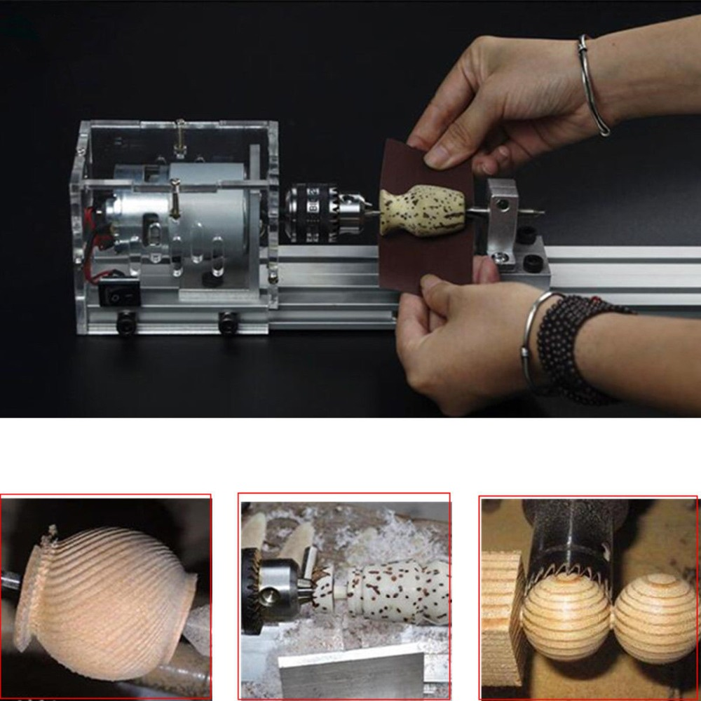 CNC Mini Lathe Machine Tool 100W DIY Wood Working Wood Lathe CNC Milling Machine Grinding And Polishing Drill Tool With Power in Lathe from Tools