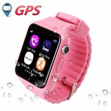 Con cámara v7k gps smart watch niños reloj sos call ubicación Rastreador Devicer para Niños Seguros Anti-perdida Monitor Con FB Whatsapp