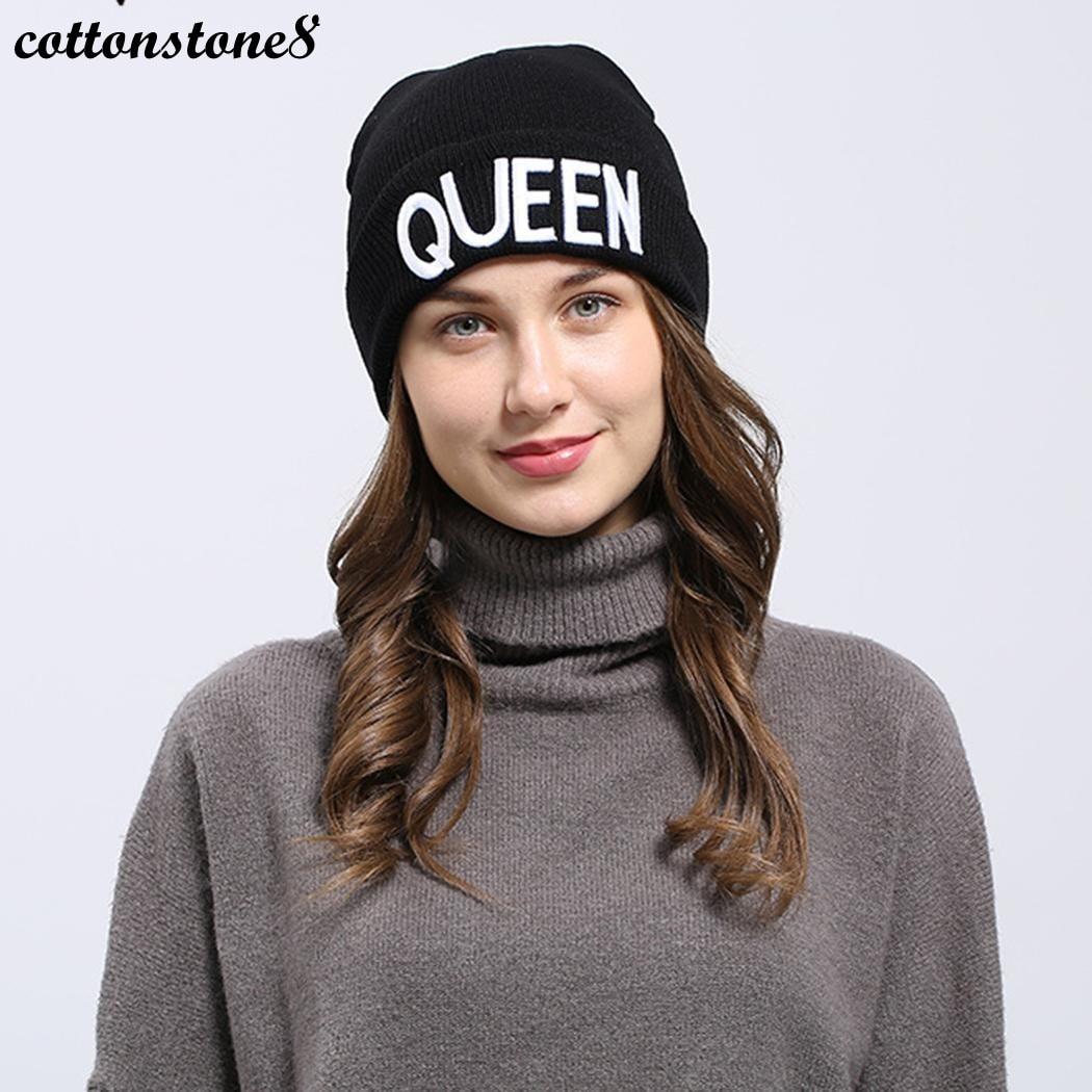 Couple Hat Women Men Cap Unisex 2017 Warm Black Letter Embroidered Fold Up Beanie Ski Casual Cap Knitted Hat For Women Hats Caps ethnic embroidered black cami dress for women