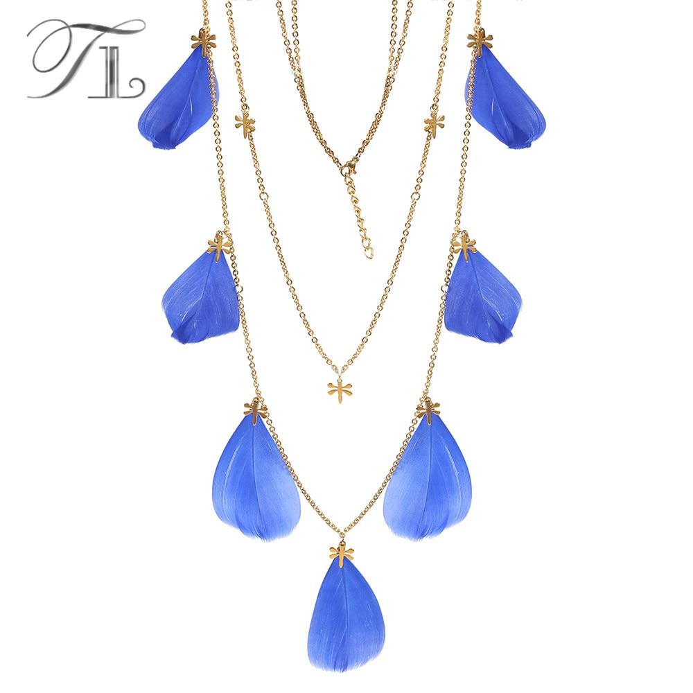 TL Handmade Bohemian Blue Feather Pendant Necklaces Boho Statement Tassel Pendant Necklace Long Chain Accessories Women Collares