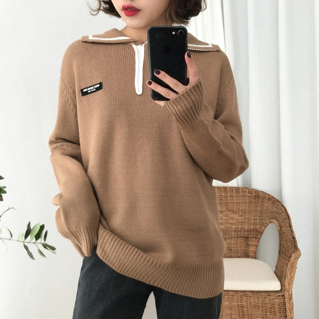 sweaters womens tops 2018 harajuku korean fashion autumn winter clothes  striped stitching letters trend retro oversized sweater 8f996d349