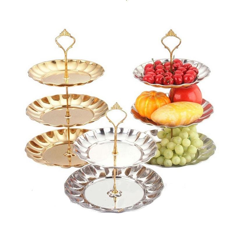 2 3 tier circle round silver gold metal party birthday wedding cupcake cake stand rack pan