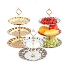 2 & 3 tier kreis runde silber gold metal party geburtstag hochzeit cupcake kuchen-standplatz rack pan für kuchen display dekoration