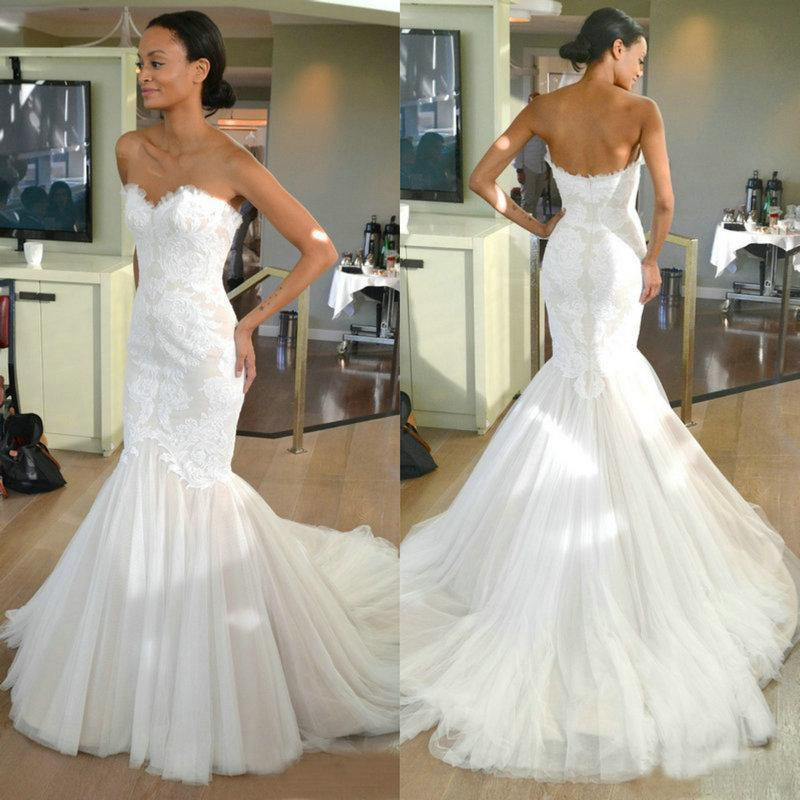 Hennah Mermaid Lace Wedding Gowns: 2016 Lace Mermaid Wedding Dresses Sweetheart Tulle Simple
