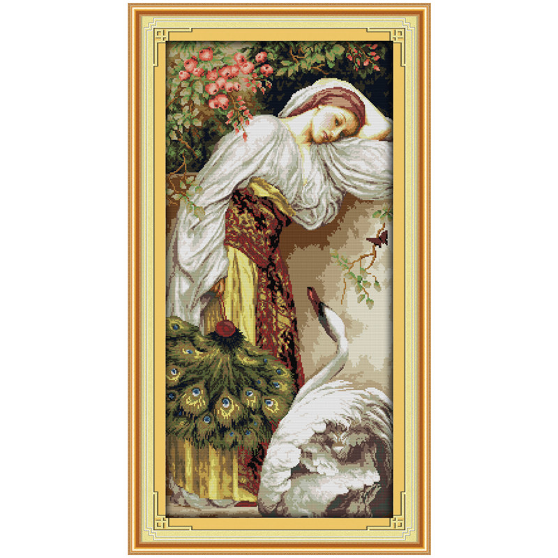 The Girl And Goose Painting Counted Cross Stitch Kits 14CT 11CT Printed DMC Cross-stitch Patterns DIY Embroidery Needlework Sets
