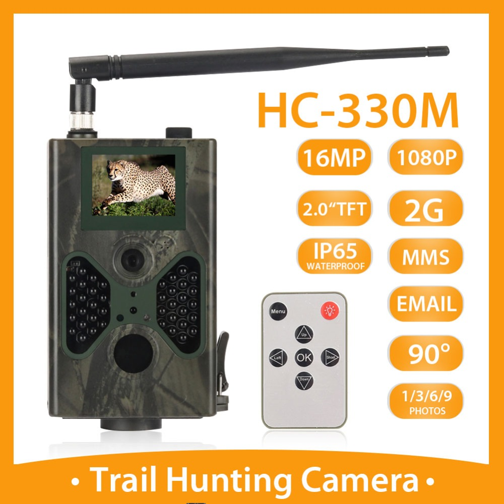 Cellular Hunting Trail Camera 16MP Photo Traps SMTP MMS GSM 1080P Night Vision HC330M Wildlife Wireless Cameras Surveillance|Hunting Cameras| |  - title=