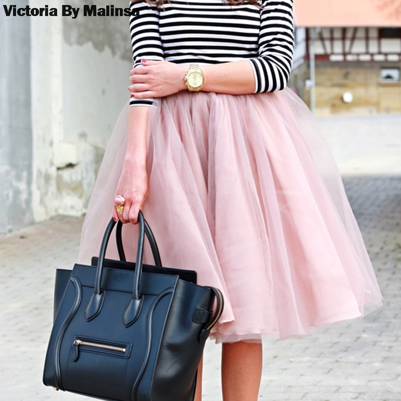 Jarní tutu sukně ženy dívky princezna chlupaté skládané - Dámské oblečení