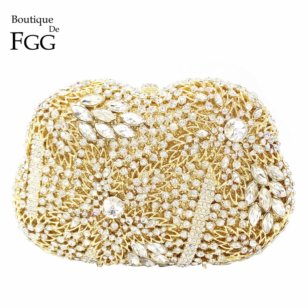 Hollow Out Women's Cocktail Prom Golden Crystal Clutch Evening Bags Bridal Wedding Dress Diamond Shoulder Bags Metal Clutches