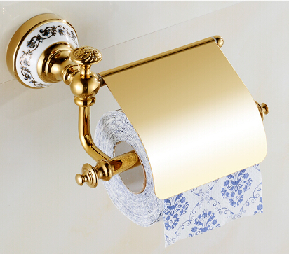 High Quality Gold Toilet Paper Holder ,Paper Roll Holder,Tissue Holder,Solid Brass -Bathroom Accessories Products toilet paper holder roll holder tissue holder bathroom accessories products
