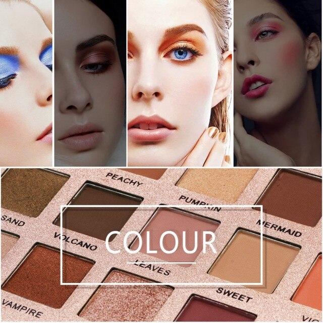Nuevo 18 colores brillo sombra de ojos polvo mate sombra de ojos maquillaje cosmético herramienta brillo sombra de ojos paleta